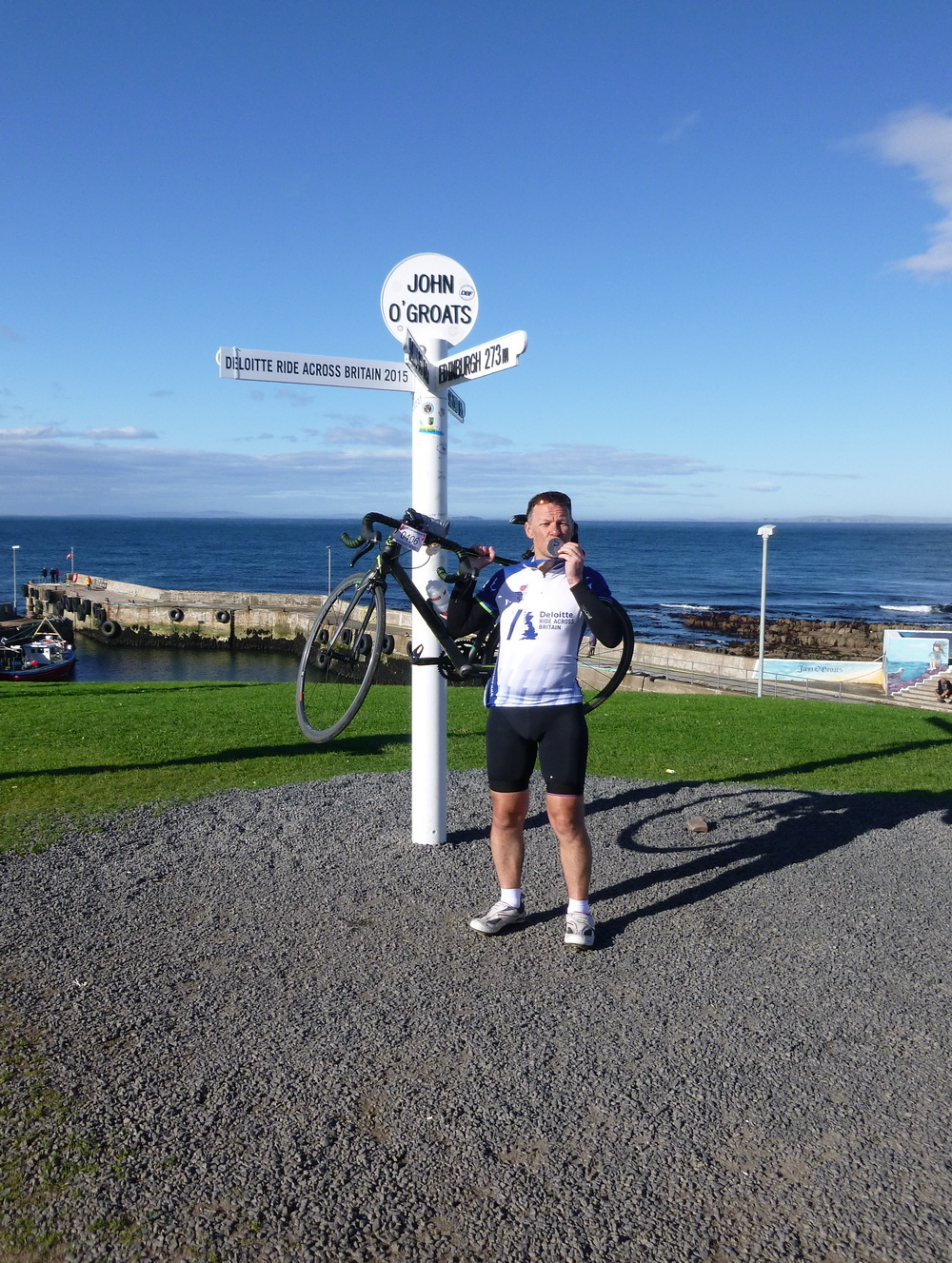 At John O'Groats; the finish line